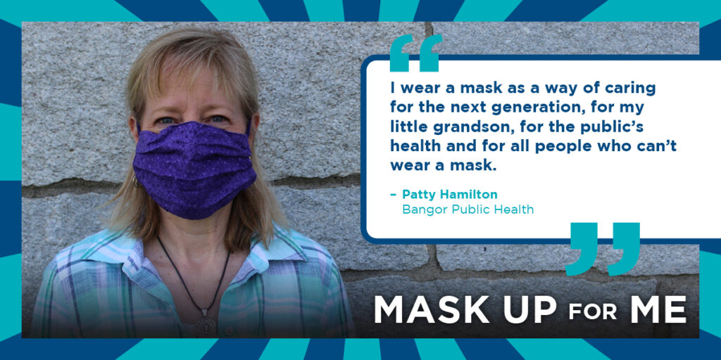 Patty Hamilton of Bangor Public Health Wearing a Mask