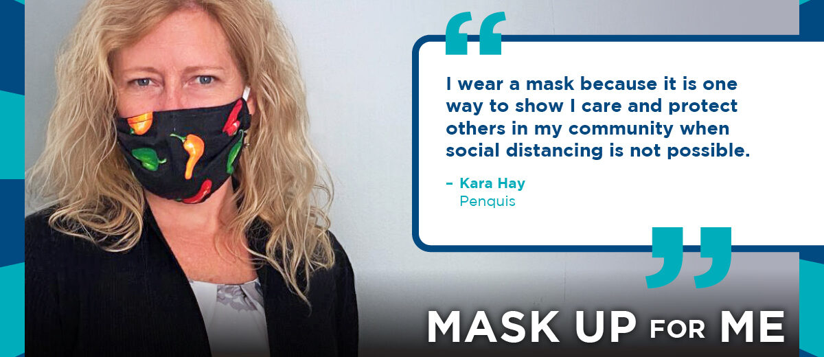 Kara Hay wearing a mask